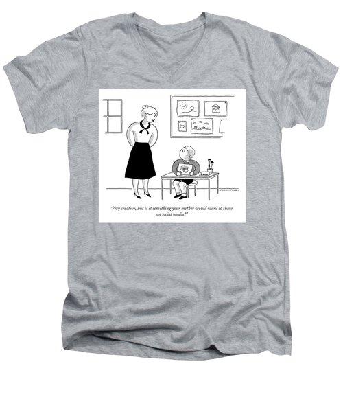 Share On Social Media Men's V-Neck T-Shirt