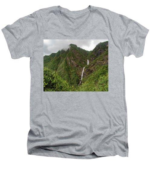 Shenlong Waterfall 8x10 Horizontal Men's V-Neck T-Shirt