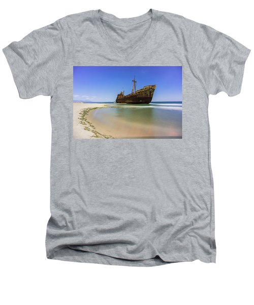 Shipwreck Dimitros Near Gythio, Greece Men's V-Neck T-Shirt