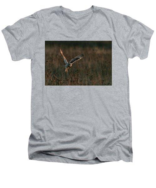 Short Eared Owl Liftoff Men's V-Neck T-Shirt