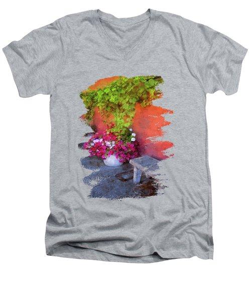 Sidewalk Floral In Brownsville Men's V-Neck T-Shirt