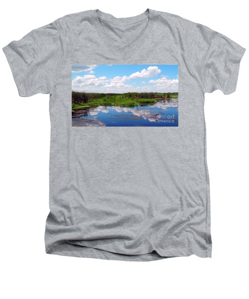 Men's V-Neck T-Shirt featuring the photograph Skyscape Reflections Blue Cypress Marsh Near Vero Beach Florida C6 by Ricardos Creations