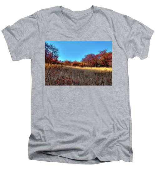 Men's V-Neck T-Shirt featuring the photograph Sliver Of Sunlight by David Patterson