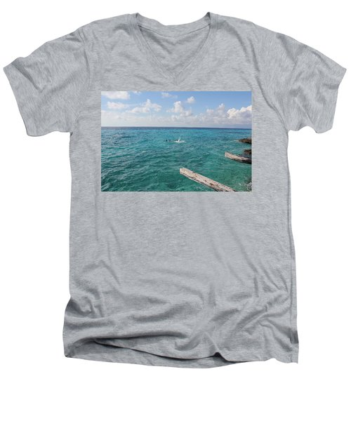 Men's V-Neck T-Shirt featuring the photograph Snorkeling by Ruth Kamenev