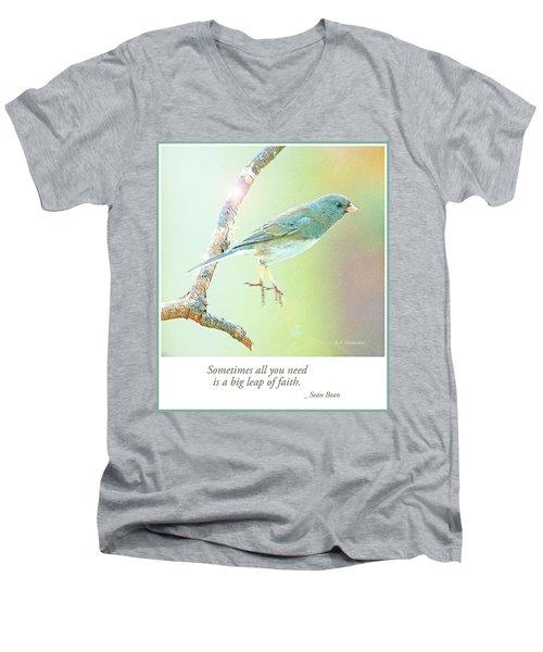 Snowbird Jumps From Tree Branch Men's V-Neck T-Shirt