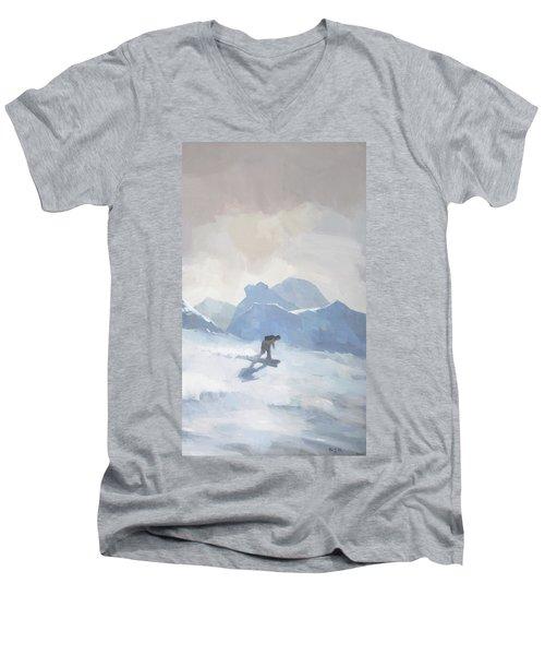 Snowboarding At Les Arcs Men's V-Neck T-Shirt
