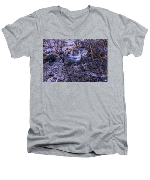 Snowy Forest With Long Exposure Men's V-Neck T-Shirt