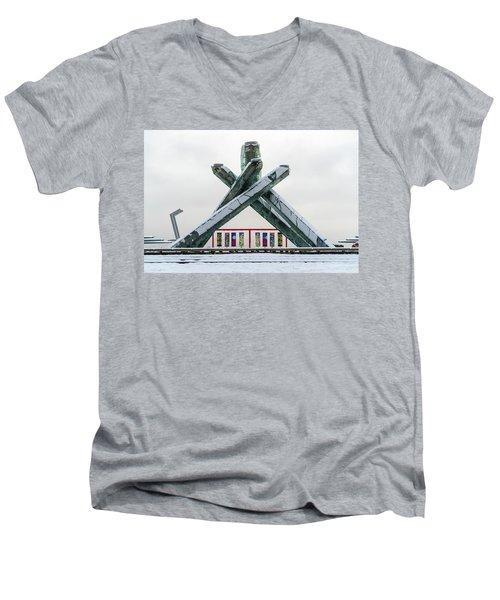 Snowy Olympic Cauldron Men's V-Neck T-Shirt