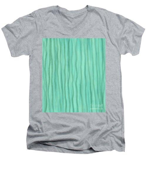 Soft Green Lines Men's V-Neck T-Shirt