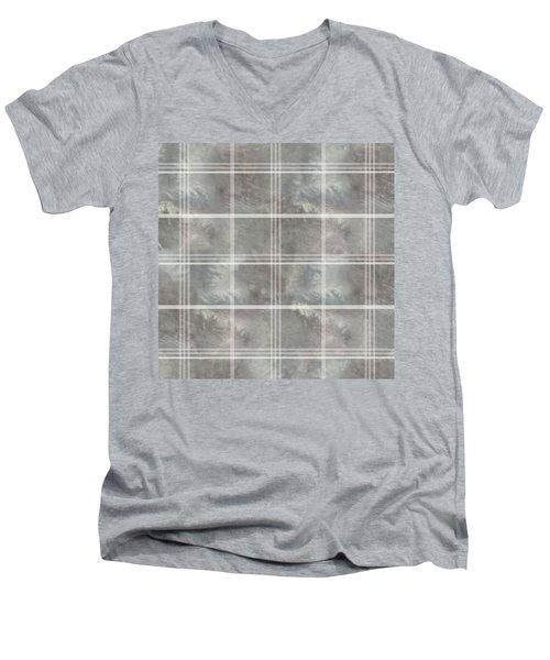Soft Textured Cream And Blue Plaid Men's V-Neck T-Shirt