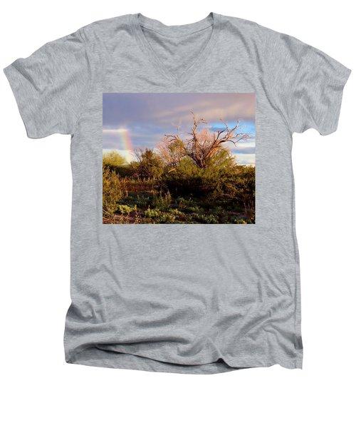 Sonoran Desert Spring Rainbow Men's V-Neck T-Shirt