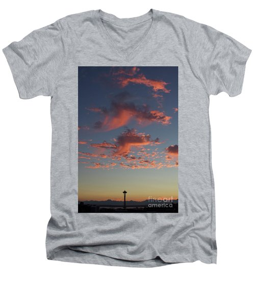 Space Needle And Pink Clouds Men's V-Neck T-Shirt