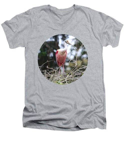 Spoonbill On Branches Men's V-Neck T-Shirt