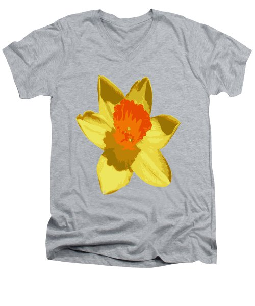 Spring Daffodil Isolated On Hot Pink Men's V-Neck T-Shirt