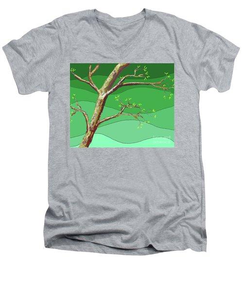 Spring Errupts In Green Men's V-Neck T-Shirt