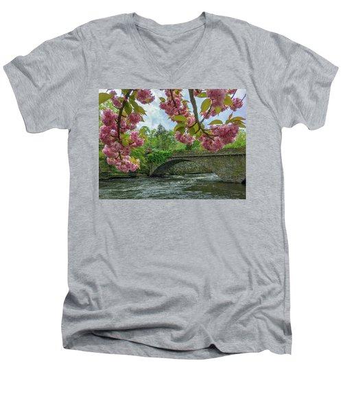 Spring Garden On The Bridge  Men's V-Neck T-Shirt