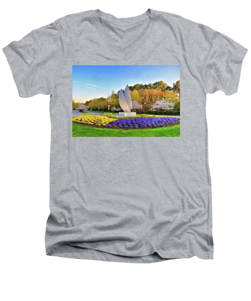 Springtime At Christopher Newport University Men's V-Neck T-Shirt