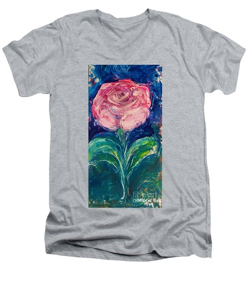 Men's V-Neck T-Shirt featuring the painting Standing Rose by Deborah Nell