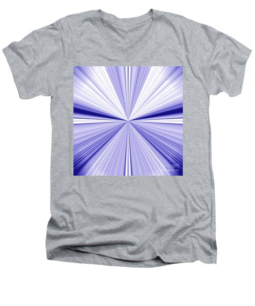 Starburst Light Beams In Blue And White Abstract Design - Plb455 Men's V-Neck T-Shirt