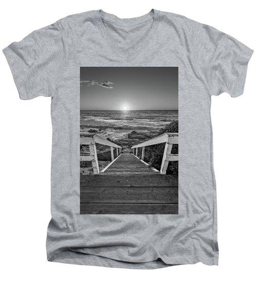 Steps To The Sun  Black And White Men's V-Neck T-Shirt
