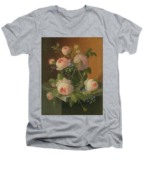 Still Life With Roses, Circa 1860 Men's V-Neck T-Shirt