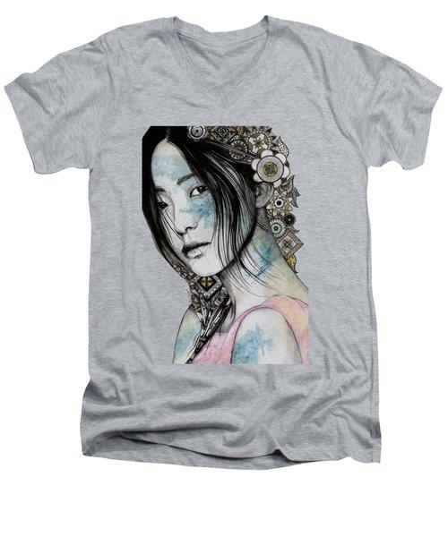 Stoic - Asian Girl Street Art Portrait With Mandala Doodles Men's V-Neck T-Shirt