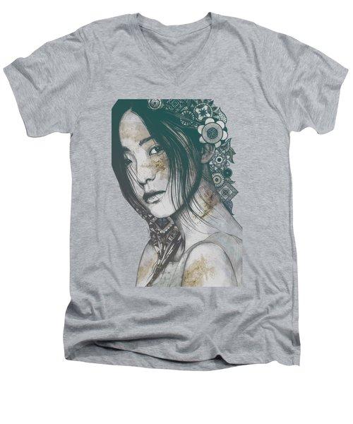 Stoic - Autumn - Asian Woman Portrait With Mandalas Men's V-Neck T-Shirt