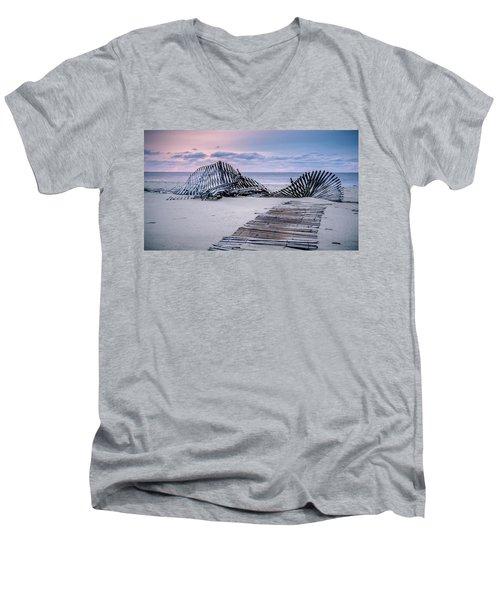 Storm Fence Sunrise Men's V-Neck T-Shirt