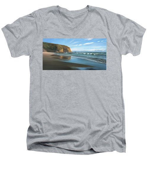 Strands Beach Dana Point Oil Painting Men's V-Neck T-Shirt