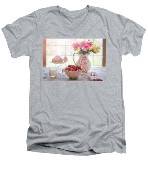 Strawberry Breakfast Men's V-Neck T-Shirt