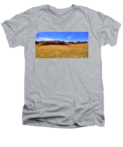 Men's V-Neck T-Shirt featuring the photograph Sun On Magpie Forest by David Patterson