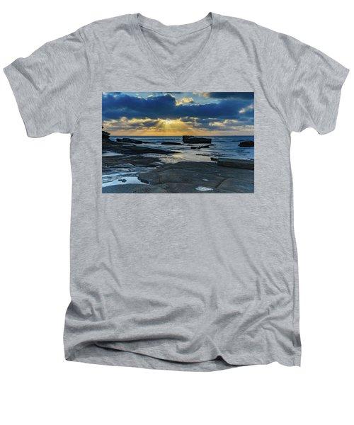 Sun Rays Burst Through The Clouds - Seascape Men's V-Neck T-Shirt