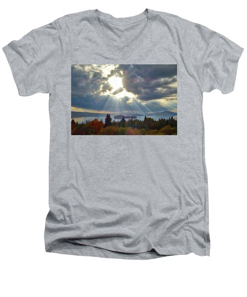 Sun Rays Over Rangeley Lake Men's V-Neck T-Shirt