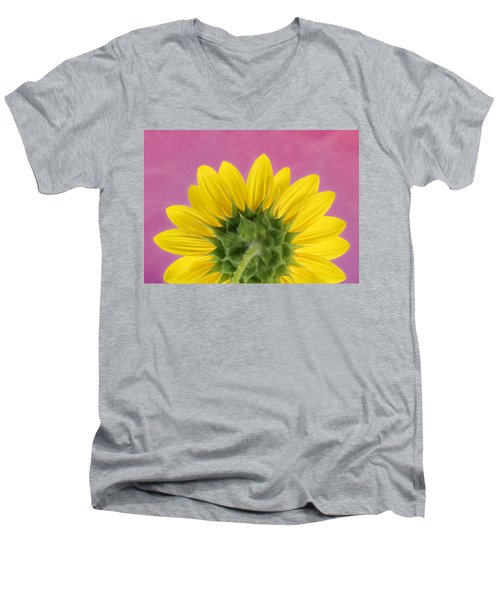 Men's V-Neck T-Shirt featuring the photograph Sunflower On Pink - Botanical Art By Debi Dalio by Debi Dalio