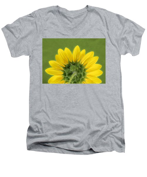 Men's V-Neck T-Shirt featuring the photograph Sunflower Sunrise - Botanical Art by Debi Dalio