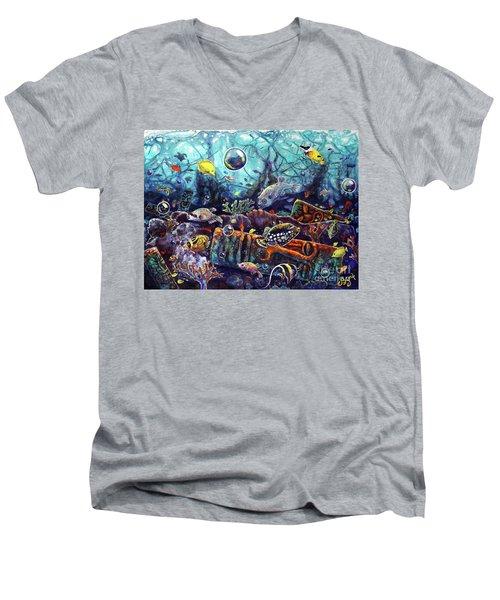 Sunken Tiki Reef Men's V-Neck T-Shirt