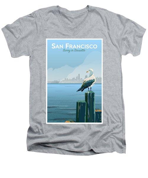 Sunny In Sausalito Men's V-Neck T-Shirt