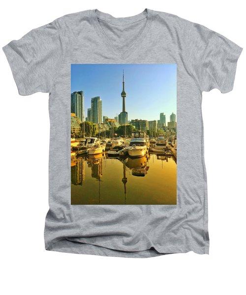 Sunrise At The Harbour Men's V-Neck T-Shirt