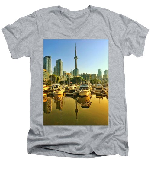 Sunrise At The Harbour Men's V-Neck T-Shirt