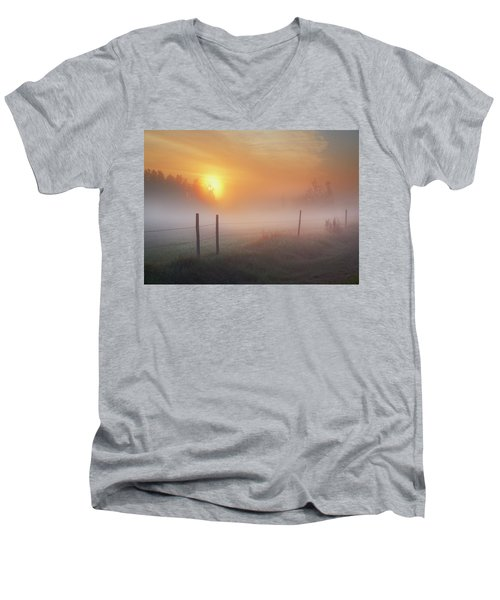 Sunrise Over Morning Pasture Men's V-Neck T-Shirt