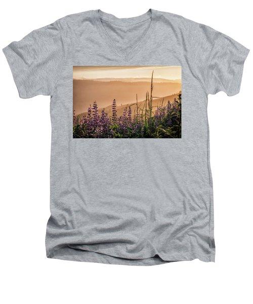 Sunset Among The Lupine Men's V-Neck T-Shirt