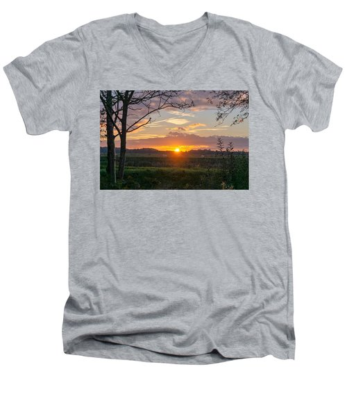Men's V-Neck T-Shirt featuring the photograph Sunset by Anjo Ten Kate