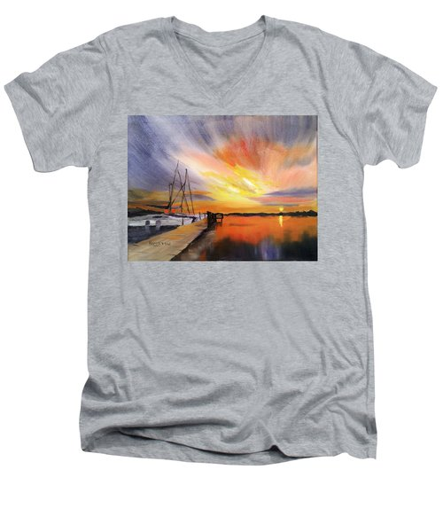 Sunset Harbor Men's V-Neck T-Shirt