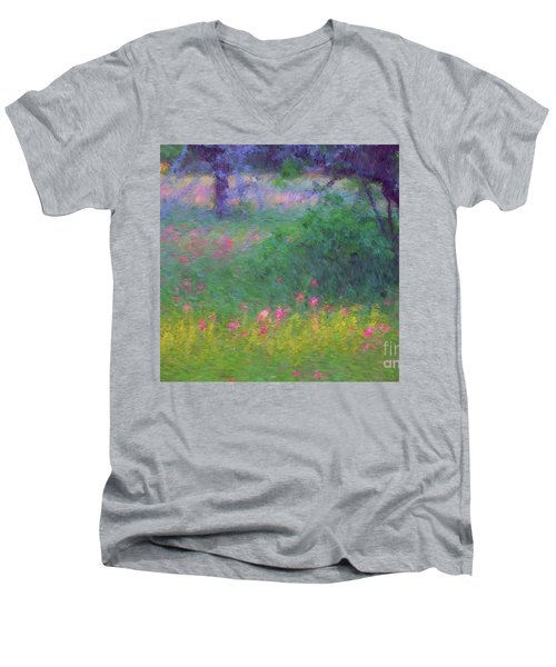 Sunset In Flower Meadow Men's V-Neck T-Shirt
