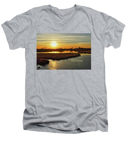 Sunset In Pitt Meadows Men's V-Neck T-Shirt