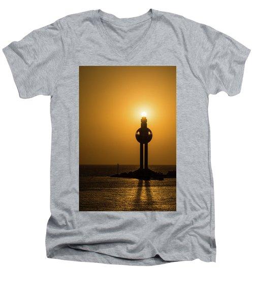 Sunset In Port Jeddah, Saudi Arabia Men's V-Neck T-Shirt