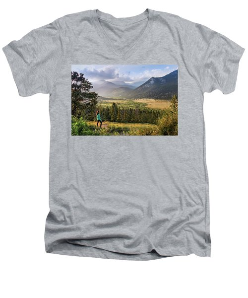 Sunset In The Rockies Men's V-Neck T-Shirt