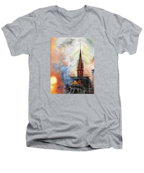 Sunset On Notre Dame Men's V-Neck T-Shirt