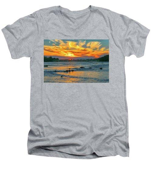 Sunset On The River  Men's V-Neck T-Shirt