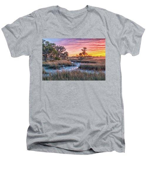 Sunset Over Chisolm Island Men's V-Neck T-Shirt
